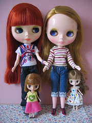Momo and Haha with petite blythe