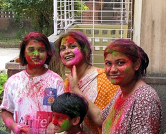 Better Late Than Never. Dol / Holi / Basantotsav @ Calcutta, West Bengal, India. (Kanad Sanyal) Tags: ladies girls woman colour festival spring women colours holi bengal calcutta dol westbengal utsab vasantotsav basantotsab vasantotsab