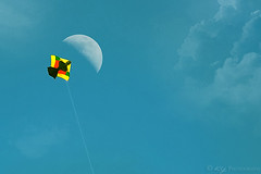 Fighter Kite (KY-Photography) Tags: park ca blue sky moon kite playing ontario canada game sport clouds paper fun flying ky guelph bamboo crescent string nikkor khalid allrightsreserved riversidepark kal hmb hbm fighterkite kiterunner explored kitefighting nikond80 18135mmf3556g twoexposure kyphotography abrasiveline
