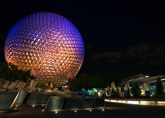 Disney - Spaceship Earth and Monorail at Night