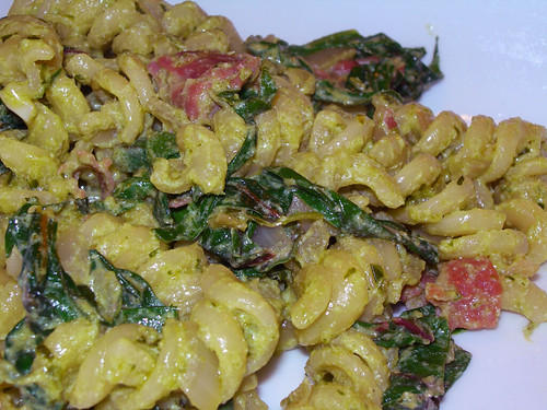 Pasta with Ricotta and Chard Pesto