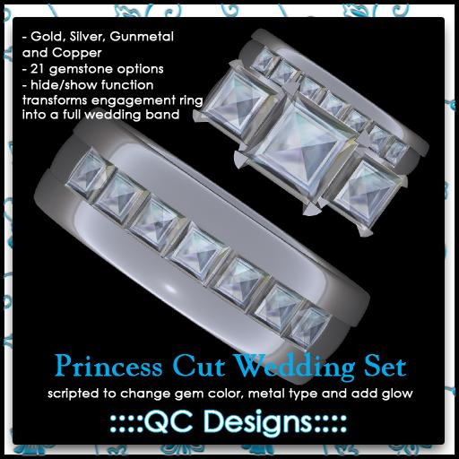 ::::QC Designs:::: Princess Cut Diamond Wedding Set