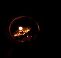 En-lightened Reflection (Sudhamshu) Tags: light lamp festival dark circle fire mirror poetry haiku negativespace flame grapes vishu deepam vishukani