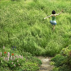 Spring into Spring (NaPix -- (Time out)) Tags: life flowers portrait woman canada motion green 6x6 nature canon square landscape happy freedom spring pix grand na explore human poppy emotions lupine 500x500 firstquality explored napix