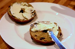 cinnamon raisin bagel + cream cheese