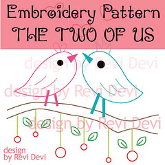 the two of us (revi1001) Tags: original nature birdie pattern handmade embroidery etsy lovebird brench revi1001