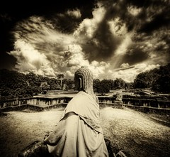Meditation (Stuck in Customs) Tags: lighting travel trees light wallpaper sky blackandwhite brown sun art monument water beautiful statue modern clouds composition contrast reflections fun photography canal amazing cool intense ancient nikon worship cambodia heaven meditate shoot artist mood ray photographer shot angle bright image god vibrant unique buddha background buddhist religion d2x picture dramatic angkorwat edge idol processing siem reap stunning maze pro resolution dreamy framing top100 portfolio lovely tunes capture emotions magical treatment solemn siemriep stuckincustoms treyratcliff sicwallpapercollector