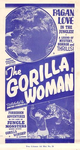 GORILLA WOMAN pressbook detail