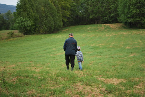 walking the fields with grandpa