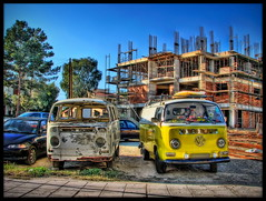 Father and son VW vans (Mike G. K.) Tags: new old building abandoned broken vw toys construction nemo cartoon decoration cyprus surfboard vans dashboard van fatherandson hdr kombi oldvsnew blueribbon cartoonish nicosia photomatix tonemapped tonemapping combie 3exp aglantzia  strongtonemapping