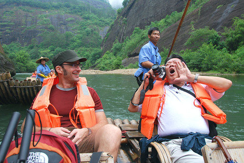 jeremy and dad, bamboo rafting, wuyi mountain