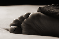 Happy Foot (Ali QJo) Tags: sleeping blackandwhite foot bed toes toe drawing sheets marker covers sharpie happyface bigtoe smileyface diffusedlight bwdreams