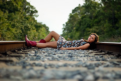 Drift away.. (Kurt Dressler Photography) Tags: wood railroad trees green train hair nikon rust rocks dress boots jessica kurt colorfull tracks dirt curly lr cowboyboots lightroom diversion reedit d80 nx2 diversionphotography