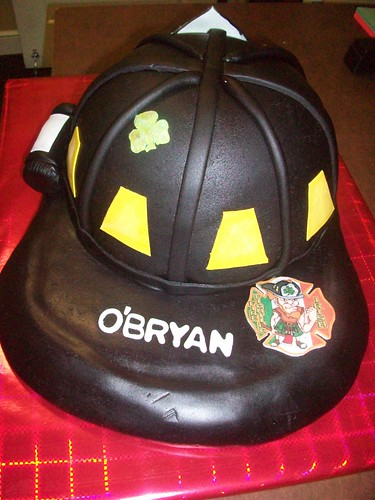 Fire Fighting Irish - fire fighter helmet grooms cake.