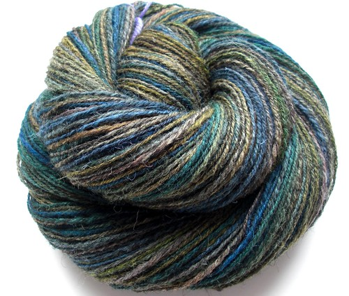 Kettle dyed Jacob Humbug 1- 3.5oz by Shunklies- 323yds navajo plied-4
