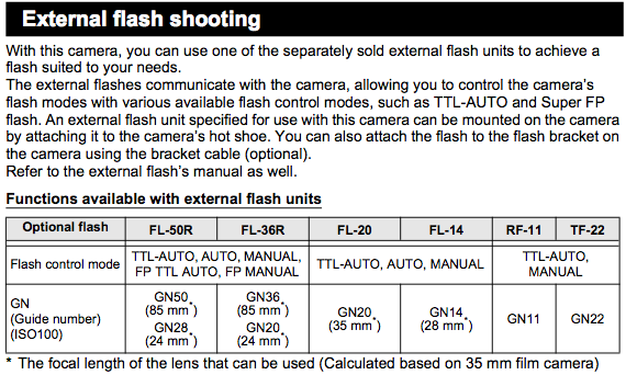 External Flash Shooting, as explained on Page 73 of the Olympus E-P1 Manual