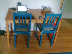 Large_Table_and_Blue_Chairs (hjmalloy1) Tags: freecycle