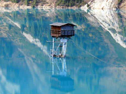 Watchtower in middle of Big Almaty Lake