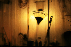 Lights are on_IMG_4327_By Phil Ovens (Pitcher_Phil) Tags: silhouette lights bucket glow garage cables hoe lawnmower gardentools weedkiller lefton spiritlevel supershot