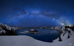 Crater Lake under the Stars (Ben Canales) Tags: longexposure blue winter snow mountains reflection water night oregon dark stars star volcano nationalpark spring reflected reflect galaxy nebula pacificnorthwest craterlake rim starry cosmos wizardisland milkyway craterlakenationalpark 2011 earthandspace landscapeastrophotography bencanales thestartrail competition:astrophoto=2011