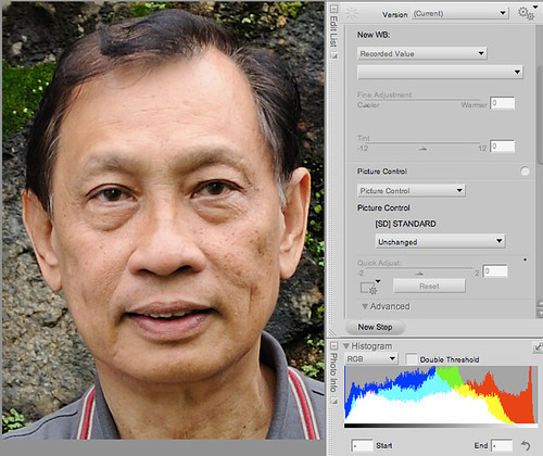 Standard Picture Control -- Blown areas of skin tone in the forehead, nose and his left cheek