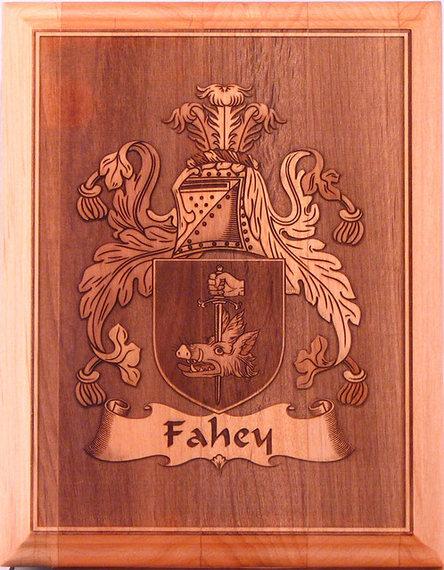 "Coat of Arms for the Fahey family. Laser engraved in a 7"" x 9"" alder wood plaque."