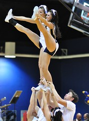 Twin Towers (MNJSports) Tags: athletic cheerleaders crowd toss fans cheer throw supporters gymnastic acrobatic synchronized drexelspiritgroup