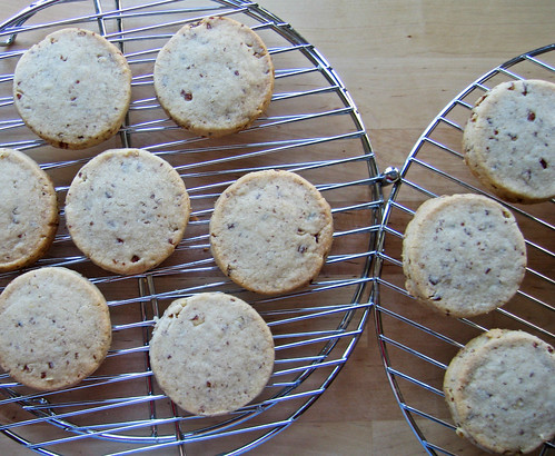 pecan shortbread, cooling