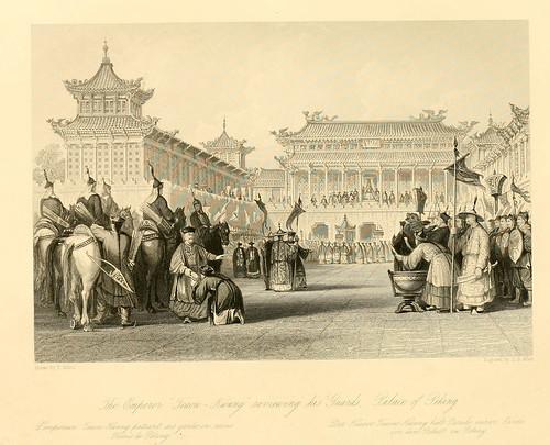 010- El emperador Teaou-Kwang pasando revista a la guardia en el palacio de Pekin