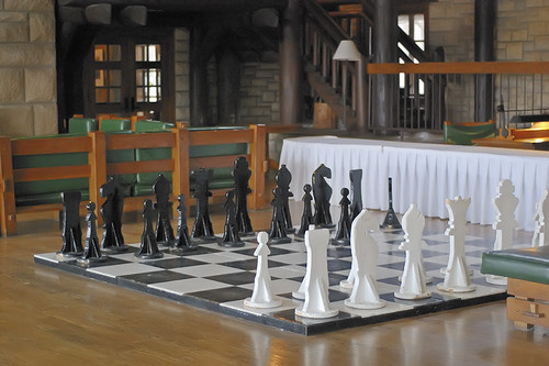 Pere Marquette State Park, in Grafton, Illinois, USA - giant chessboard in lodge