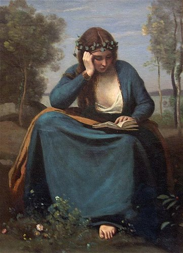 Jean-Baptiste Camille Corot, Woman Reading a Book, 1845 / Mariana