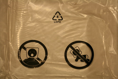 Warning on the plastic bag