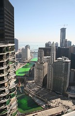 The green Chicago River, from Marina Towers