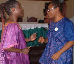 Two women celebrate International Women's Day with INCRESE in 2003