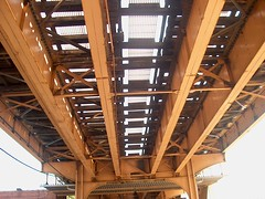 The underside of the old CTA Brown line structure at North Southport Avenue. Chicago Illinois. August 2006.