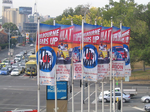 Banners for The Who and the Grand Prix