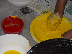 Mixing paint (MuseumWales) Tags: india colour history make st statue festival museum wales 1 model worship lotus goddess craft holy collections welsh shiva hindu durgapuja bengali oriel pandal mahishasura contemporaty tenhands fagansnational chakkhudaan ornatemothergodess