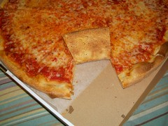 Large Cheese Pizza-Crust Close Up (Wally_Wabbit) Tags: family roses italy food usa rose cheese america tomato pie crust restaurant italian close box sauce connecticut dough large newengland ct pizza eat american oxford pizzeria parmesan 67 mozzarella conn apizza naugatuckvalley