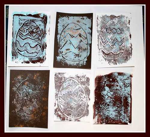 chocolate egg monoprint atcs