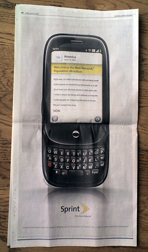 Treo photo of Palm Pre Sprint ad