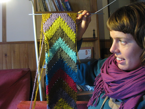 knitting a scarf on a rainy day. El Chalten.