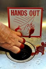 Failure to Heed Warning Signs Can Result in Disaster (ricko) Tags: sign warning blood hand sink ketchup deleteme10 garbagedisposal deleteme11 missingfingers mdpd2009 mdpd200904 failuretoheedwarning dontputyourhandswheretheydontbelong nofingerslostinmakingofphoto