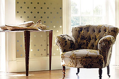 Playful pattern mix: Spot wallpaper + jacquard chair fabric (xJavierx) Tags: wallpaper brown modern design interior spot velvet decorating decor polkadot earthtones neutral jacquard velvetupholstery modernwallpaper annafrench