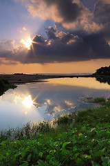 reflection (tropicaLiving - Jessy Eykendorp) Tags: light sunset sea 2 two sky bali sun plant seascape reflection beach nature water silhouette clouds canon indonesia landscape eos coast rocks shoreline flare burst efs 1022mm beams oberoi kuta seminyak waterplant 50d outdoorphotography kerobokan petitenget canoneos50d laluciola tropicaliving hitechfilters vosplusbellesphotos rawproccessedwithdigitalphotopro tiffproccessedwithadobephotoshopcs3 laluciolabeach hitechfilterndgrad