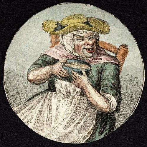 Watchpaper; painted with grotesque seated woman with bowl of gruel