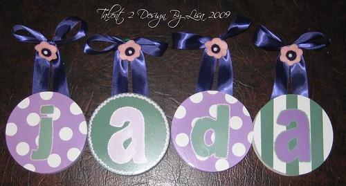 """JADA 5"""" Round custom hand painted letters"""
