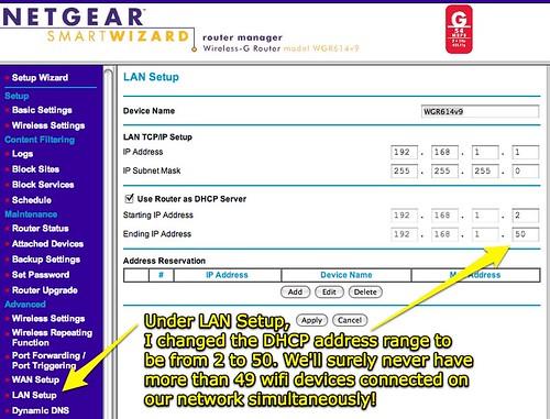 NETGEAR Router - Change DHCP range