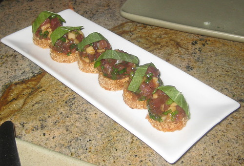 Picco in Larkspur, CA - ahi tuna tartare, apple, shiso, sesame, soy, sticky rice cakes