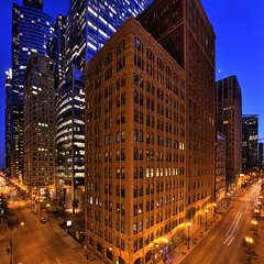 (Kevin Dickert) Tags: city urban chicago architecture night buildings downtown cityscape skyscrapers loop towers explore nightime intersection canon5d hdr highdynamicrange highrises density ubs urbanity canonef1740mmf4l abovestreetlevel willistower iamhydrogen kevindickert