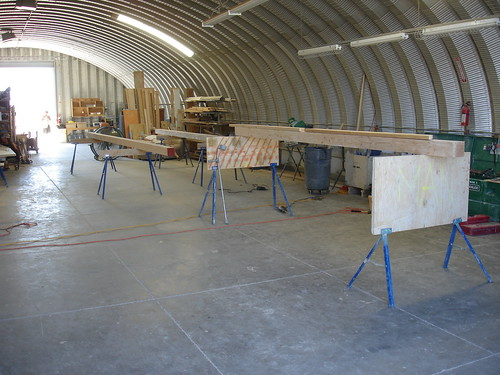 Beams on sawhorses